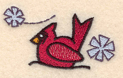 """Embroidery Design: Cardinal with snowflakes small1.45""""H x 2.61""""W"""