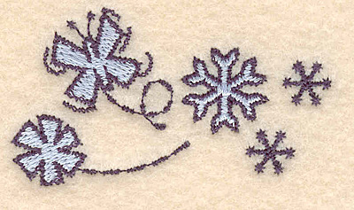 """Embroidery Design: Butterfly snowflakes1.34""""H x 2.44""""W"""
