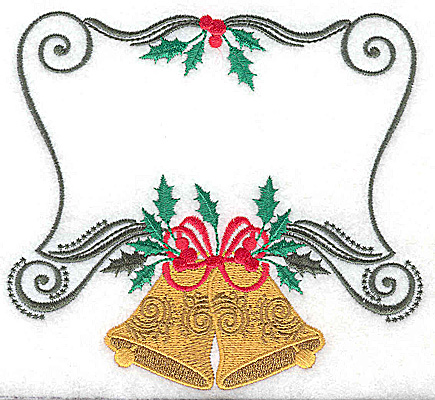 Embroidery Design: Christmas Bells with frame 5.47w X 4.96h