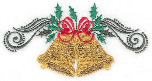 Embroidery Design: Christmas Bells bow swirls and holly 5.47w X 2.82h