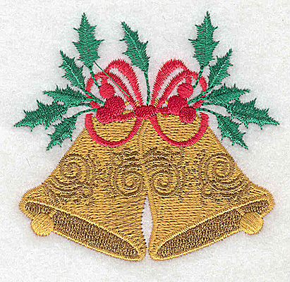 Embroidery Design: Christmas Bells with bow and holly 3.03w X 2.82h