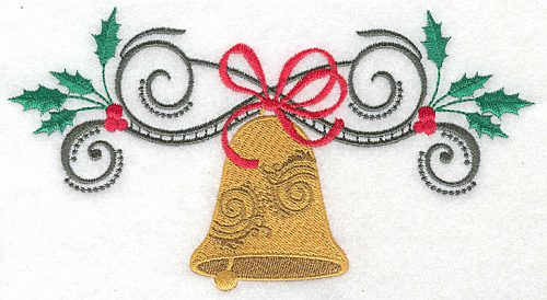 Embroidery Design: Christmas Bell with bow swirls and holly 6.95w X 3.76h