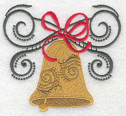 Embroidery Design: Christmas Bell with bow and swirls 3.88w X 3.50h