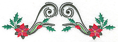 Embroidery Design: Poinsettas holly berries and swirls 6.98w X 2.31h