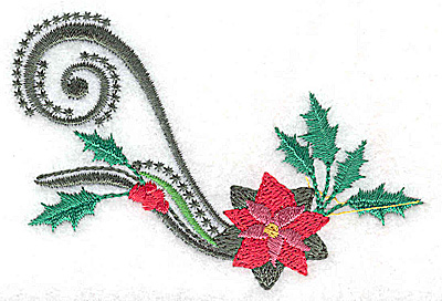Embroidery Design: Single poinsetta holly berries and swirls 3.47w X 2.31h