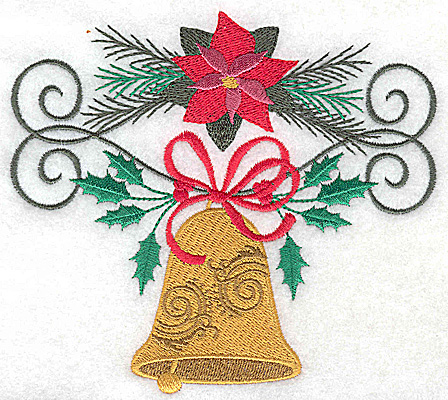 Embroidery Design: Poinsetta and bell with bow 5.29w X 4.77h