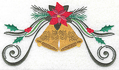 Embroidery Design: Poinsetta with bells and swirls 6.98w X 3.92h