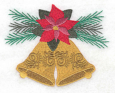 Embroidery Design: Christmas Bells poinsetta and evergreen 3.86w X 3.00h