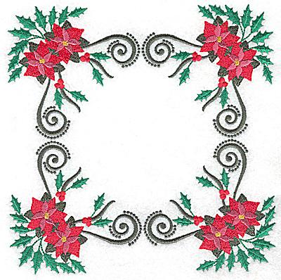 Embroidery Design: Four corner Poinsettia design 6.98w X 6.98h
