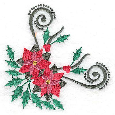 Embroidery Design: Poinsetta corner design 3.48w X 3.47h