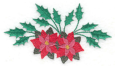 Embroidery Design: Poinsettas and holly 3.88w X 2.24h