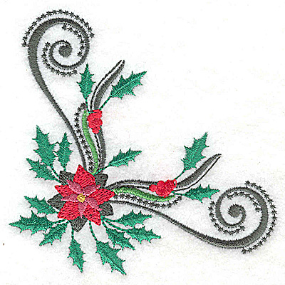 Embroidery Design: Poinsetta holly and swirls corner 3.89w X 3.81h