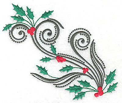Embroidery Design: Swirl design with holly and berries 4.96w X 4.40h