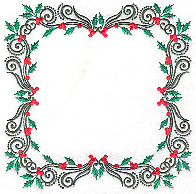 Embroidery Design: Holly with berries frame 6.97w X 6.97h