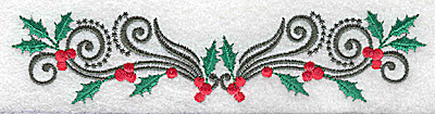 Embroidery Design: Holly berries and swirls 5.87w X 1.30h