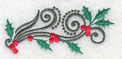 Embroidery Design: Small holly berries and swirls 2.95w X 1.30h