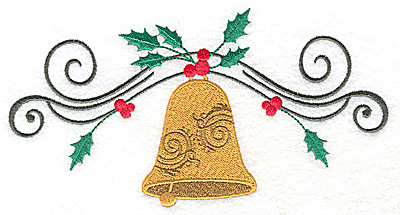 Embroidery Design: Christmas Bell with swirls and holly 6.96w X 3.62h
