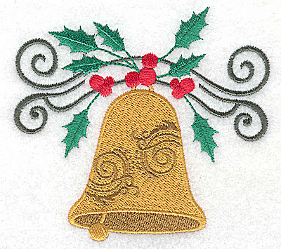 Embroidery Design: Christmas Bell with swirls and holly small 2.89w X 3.62h