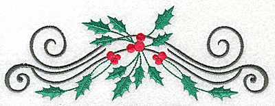 Embroidery Design: Holly berries and swirls 6.96w X 2.56h