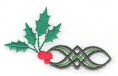 Embroidery Design: Holly berries with single patterned design 2.77w X 1.62h