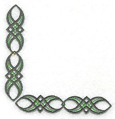 Embroidery Design: Patterned design corner 3.75w X 3.75h