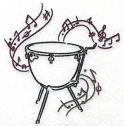 Embroidery Design: Kettle drum with musical notes small 3.64w X 3.85h