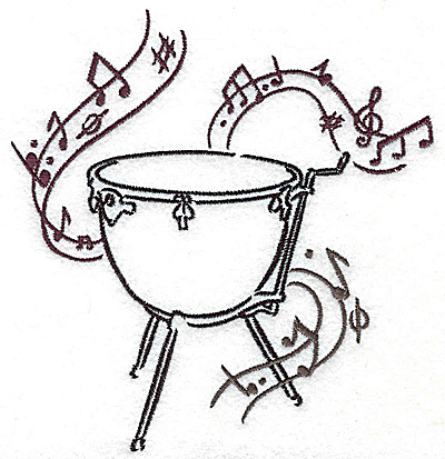 Embroidery Design: Kettle drum with musical notes large 4.69w X 4.97h