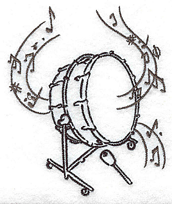 Embroidery Design: Bass drum with musical notes small 3.31w X 3.86h