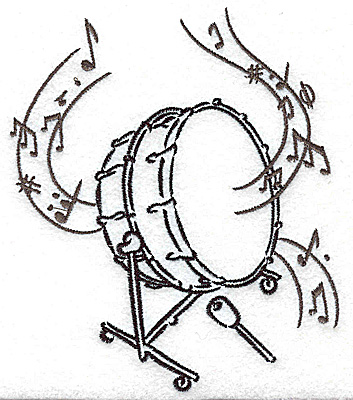Embroidery Design: Bass drum with musical notes large 4.24w X 4.93h