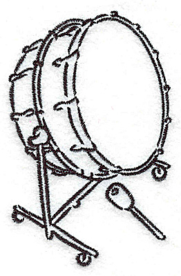 Embroidery Design: Bass drum 2.41w X 3.78h