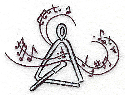 Embroidery Design: Triangle with musical notes small 3.86w X 2.97h