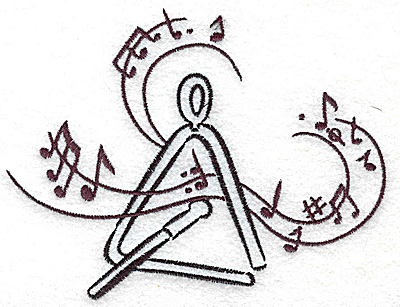 Embroidery Design: Triangle with musical notes large 4.94w X 3.80h