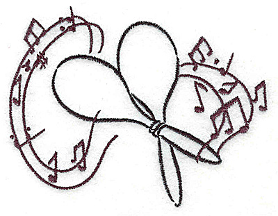 Embroidery Design: Maracas with musical notes small 3.84w X 3.11h