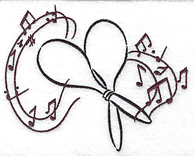 Embroidery Design: Maracas with musical notes large 4.95w X 4.01h