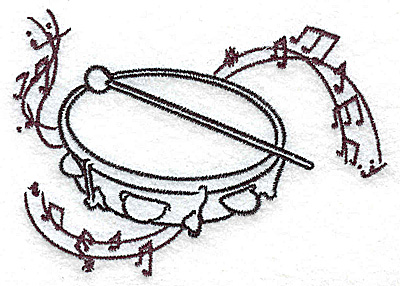 Embroidery Design: Tambourine with musical notes small 3.87w X 2.76h