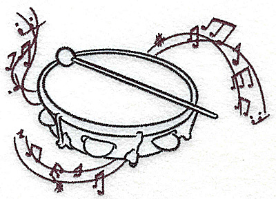 Embroidery Design: Tambourine with musical notes large 4.99w X 3.56h
