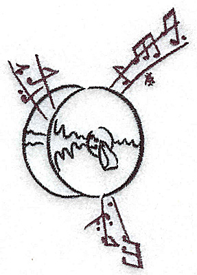 Embroidery Design: Cymbals with musical notes small 2.69w X 3.87h