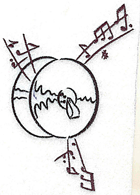 Embroidery Design: Cymbals with musical notes large 3.47w X 4.99h