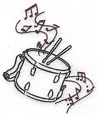 Embroidery Design: Snare drums with musical notes small 3.18w X 3.86h