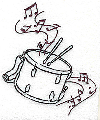 Embroidery Design: Snare drums with musical notes large 4.10w X 4.98h