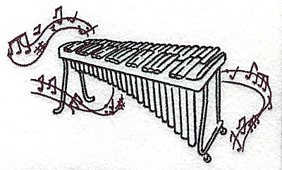 Embroidery Design: Xylophone with musical notes large 4.95w X 2.94h