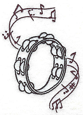 Embroidery Design: Tambourine with musical notes small 2.73w X 3.85h