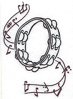 Embroidery Design: Tambourine with musical notes large 3.52w X 4.97h