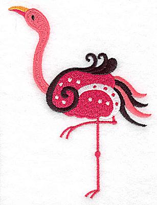 Embroidery Design: Flamingo J large 3.63w X 4.87h