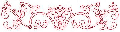 Embroidery Design: Redwork border design A large 9.74w X 2.34h