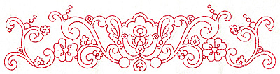 Embroidery Design: Redwork border design B large 9.70w X 2.44h
