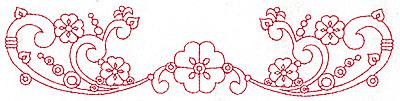 Embroidery Design: Redwork border design F large  9.71w X 2.22h