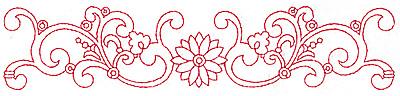 Embroidery Design: Redwork border design H large 9.74w X 2.07h