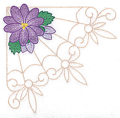Embroidery Design: Single flower with buds large  4.97w X 4.79h