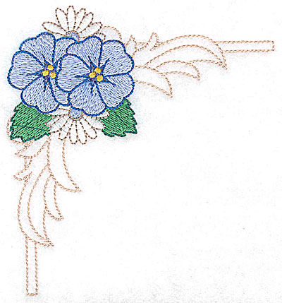 Embroidery Design: Daisies and pansies large 4.58w X 4.94h